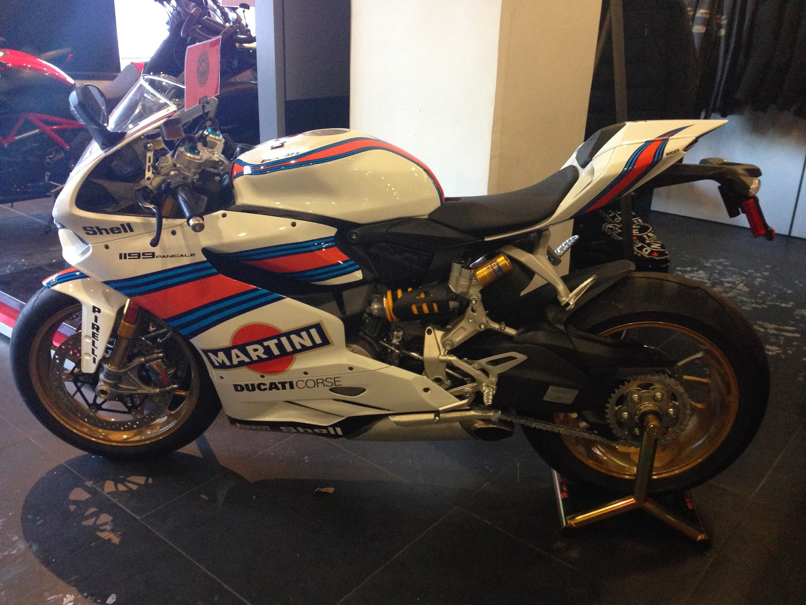 Ducati 1199 Panigale Profile pic with full Martini racing kit at DucatiTriumphNYC via Tigho NYDucati