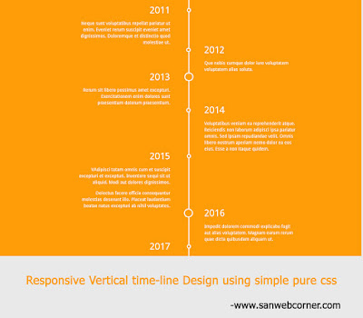 RESPONSIVE TIME-LINE VERTICAL DESIGN USING SIMPLE PURE CSS