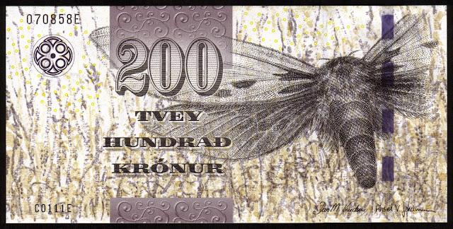 Faroe Islands Banknotes 200 Krone banknote 2011 Ghost moth