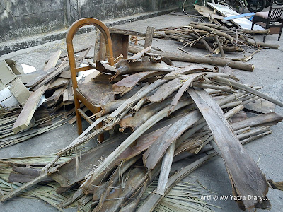 Collected Heap of twigs, leaves and branches for Holika Dahan