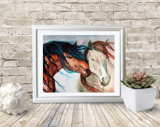 Nuzzling Horses Watercolor Art Copyright Cheryl Casey 2018
