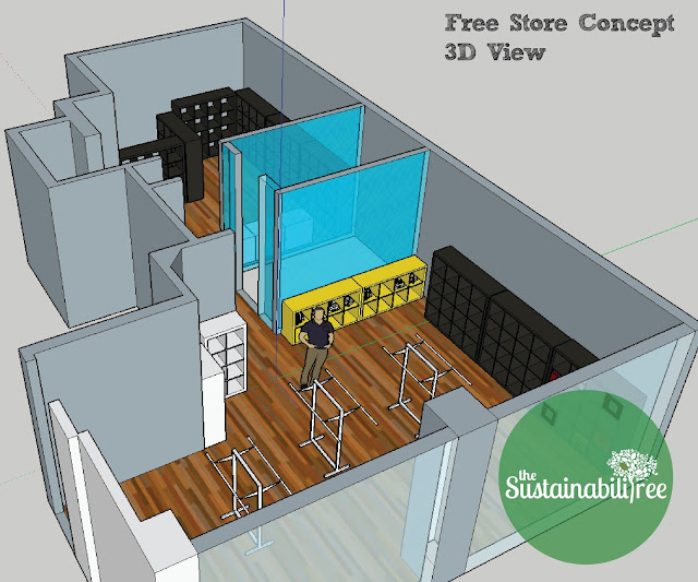 A 3D model of the new Free Store space