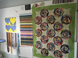 design wall spider web quilt strings scraps