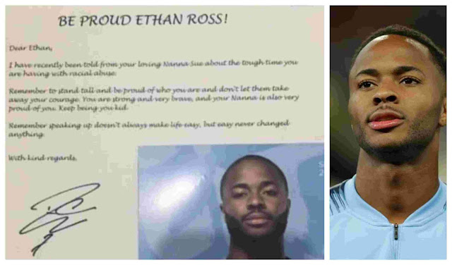 Man City's Sterling Sends Touching Letter To Young Victim Of Racist Abuse