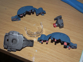 Main parts of the Zaku II head painted