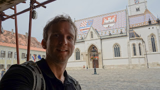 Me with Zagreb flag in front of the St Mark Church