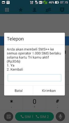 paket sms tri 1000  ke semua operator berlaku selama nomor 3 aktif