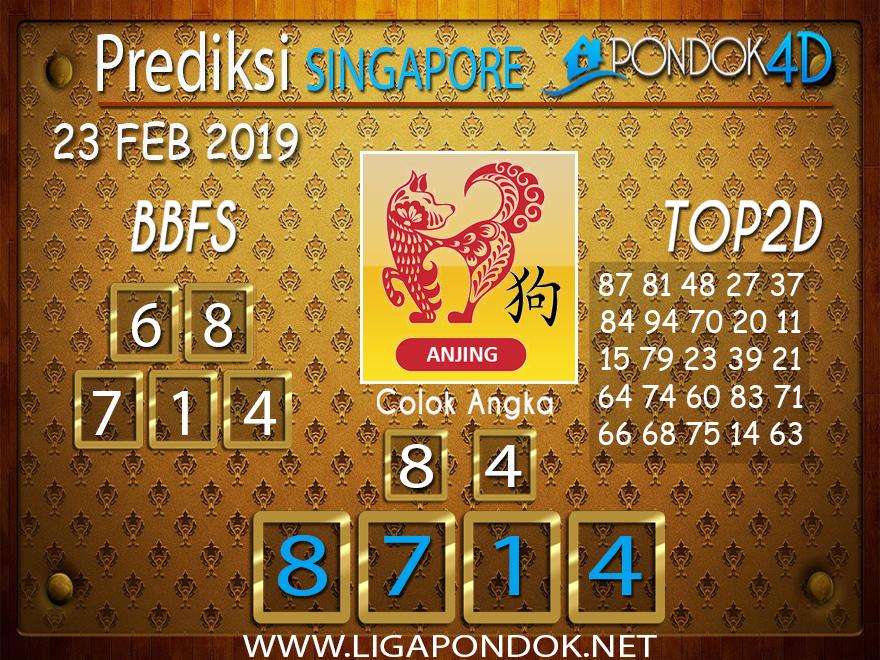 Prediksi Togel SINGAPORE PONDOK4D 23 FEBRUARI 2019