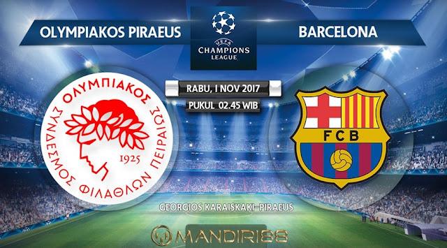 Barcelona akan melawat ke markas Olympiakos di Stadion Karaiskakis pada matchday keempat  Berita Terhangat Prediksi Bola : Olympiakos Vs Barcelona , Rabu 01 November 2017 Pukul 02.45 WIB