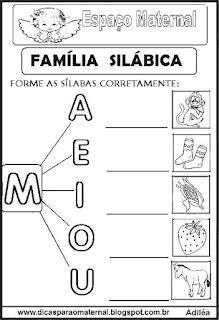 Família silábica alfabetização letra M