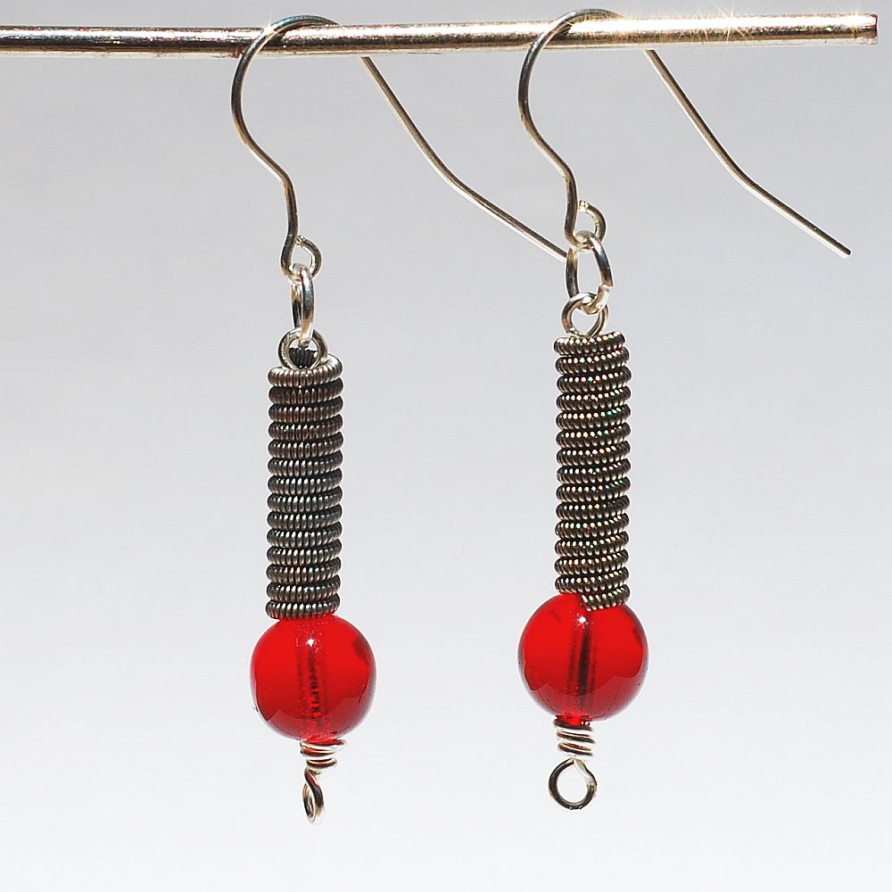 guitar string jewelry by tanith rohe guitar string jewelry ruby red earrings. Black Bedroom Furniture Sets. Home Design Ideas