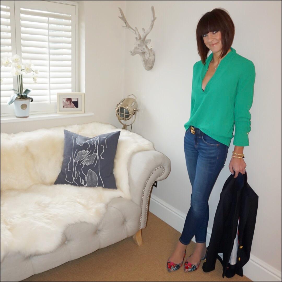 my midlife fashion, zara drape neck blouse, gucci gg logo 2cm leather belt, j crew toothpick 8 inch skinny jeans, j crew rhodes blazer, j crew tweed tassel pointed flat shoes