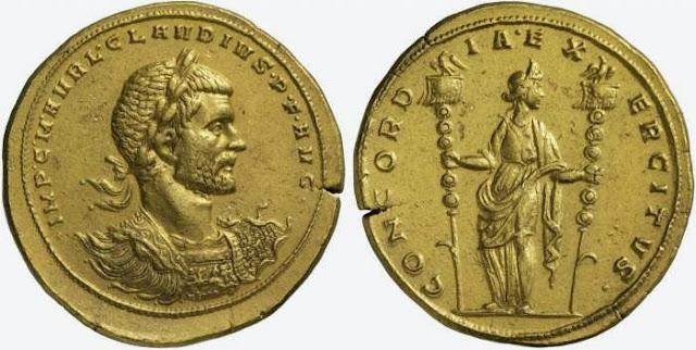 Medallón del emperador romano Claudio Gótico