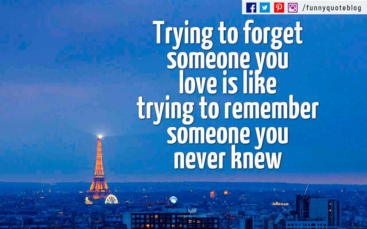 Trying to forget someone you love is like trying to remember someone you never knew.