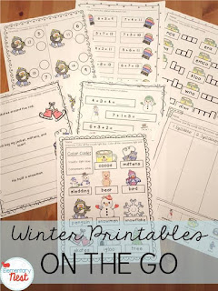 Winter printables plus a few FREEBIES- blog post highlighting hands-on activities for kids