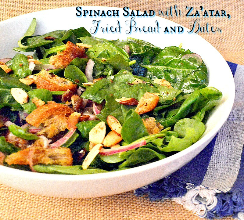spinach salad with za'atar, dates and fried bread