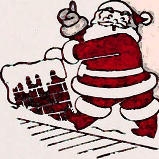 Tono navideño. Imagen de Papa Noel entrando por la chimenea de un tejado nevado