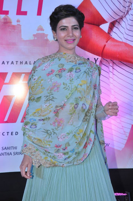 Samantha Prabhu in Blue Chiffon Lehenga