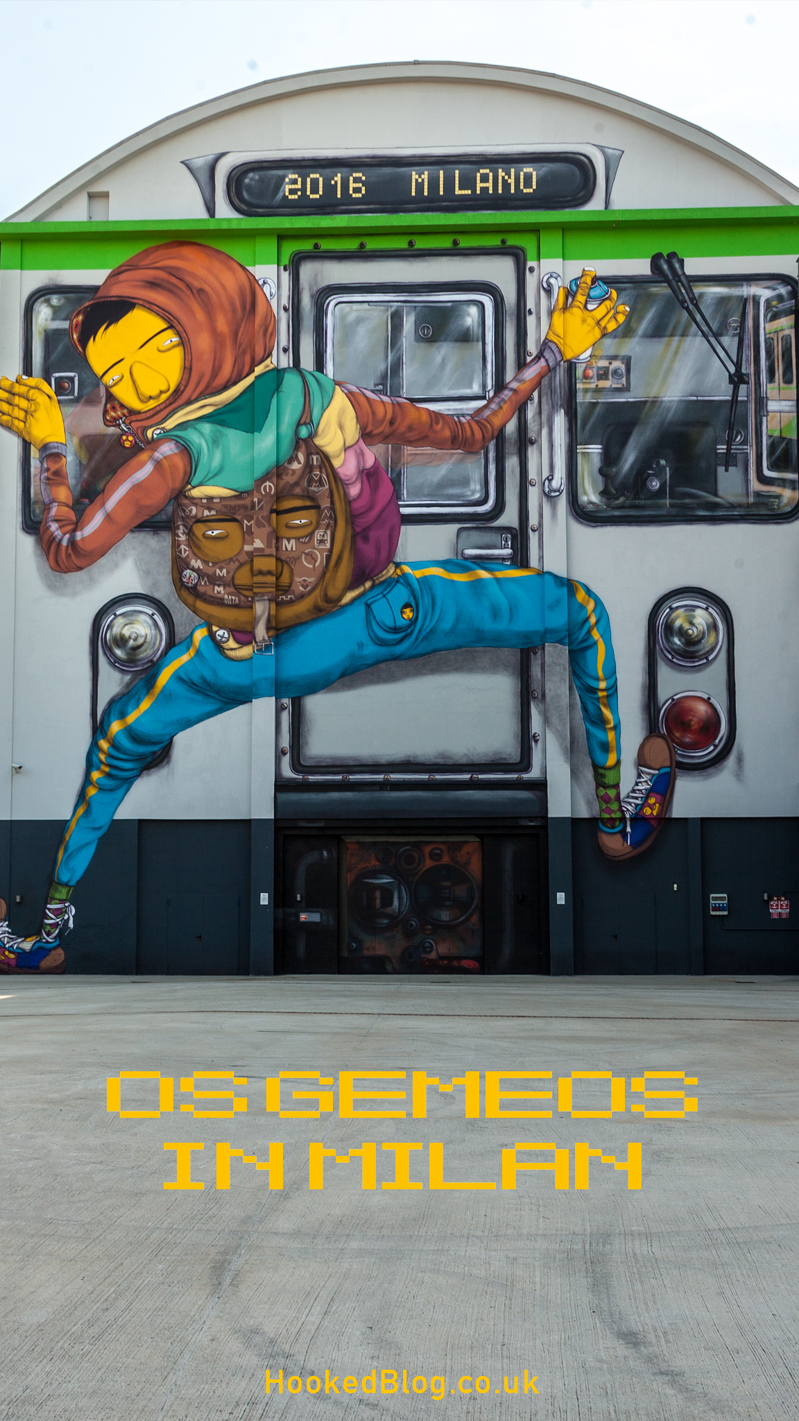 Large scale Milan Street Art mural by South American street art duo Os Gemeos. #streetart #graffiti #mural