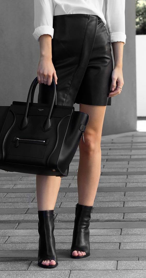 white and black outfit | shirt + leather skirt + bag + heels