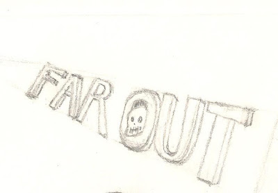 A concept sketch of part of an imprint logo with a skull for the brand icon at an angled position.