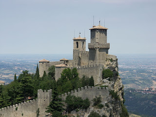The Fortress of Guaita in San Marino towers over the Italian landscape