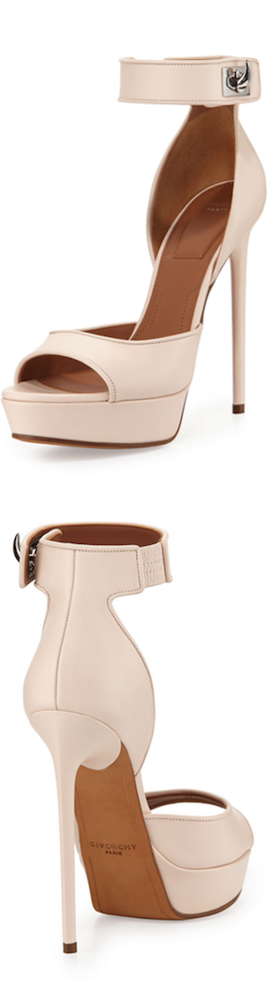 Givenchy Leather Shark-Lock d'Orsay Sandal, Nude Pink