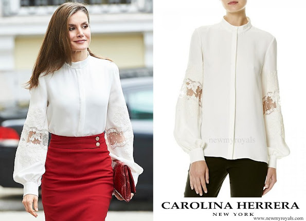 Queen Letizia wore Carolina Herrera silk blouse from spring 2017 collection