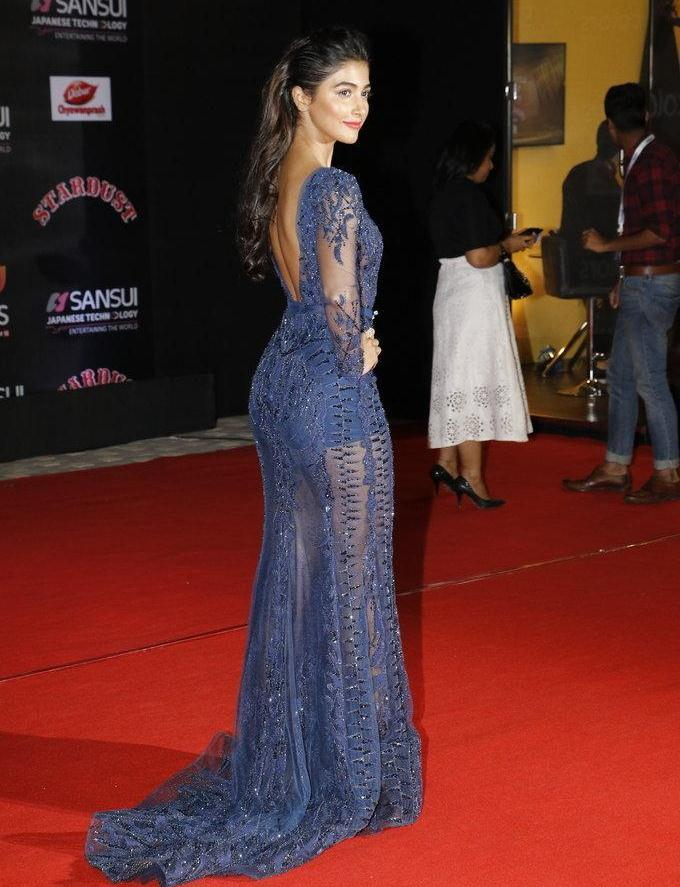 Model Pooja Hegde Stills In Blue Dress At Stardust Awards