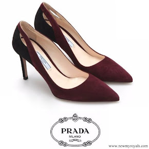 Prada burgundy suede cutout point toe pumps