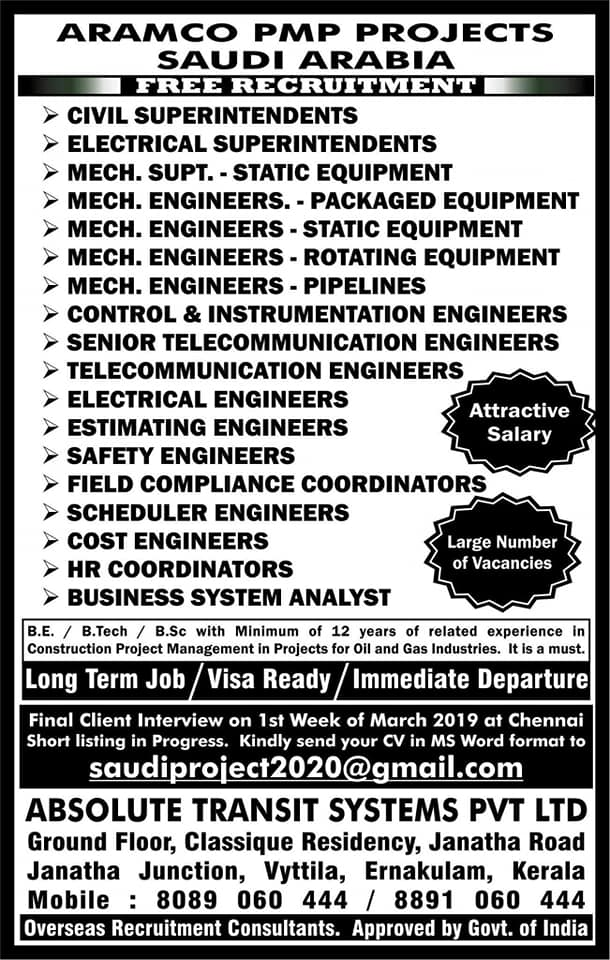 Aramco PMP Project Jobs for KSA – Free Recruitment – GCC