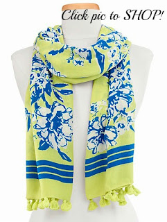 Talbots Flowers and Stripes Scarf