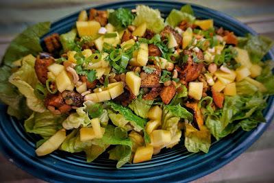 Spiced Eggplant Lentil Salad with Mango, Indian recipes, summer salad, clean eating, vegan recipes, vegan lunch, eggplant, lentils, lgbt, lesbian, health coach