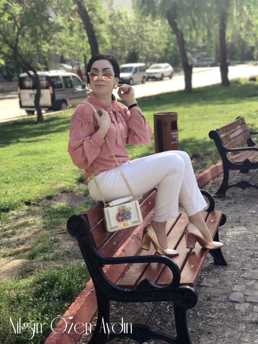 alışveriş-Pudra Bluz ve Rose Gold Ayakkabı-amiclubwear-fasardi