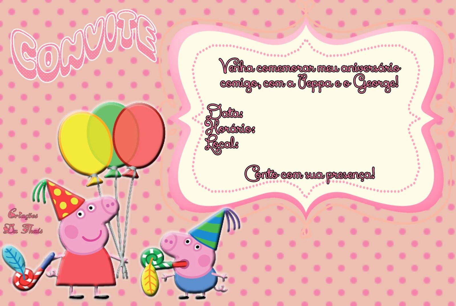 Criações da Thaís: Convites grátis Peppa Pig