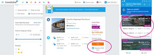 Pilihan paket pesawat + hotel di Traveloka