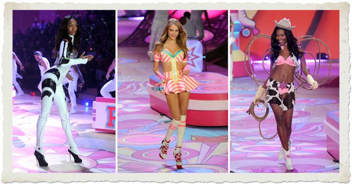 Jourdan Dunn, Cara Delevingne, Sharam Diniz posano per il Victoria's Secret Fashion Show 2012
