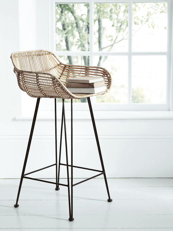 Rattan and wood kitchen counter stool