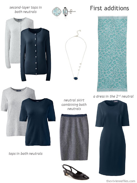 Adding six pieces to a conservative office wardrobe in navy and grey