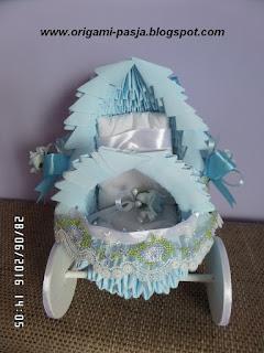 narodziny, chrzest, pamiątka chrztu, wózek, wózeczek, błękitny, prezent, oryginalny, wstązka, haft