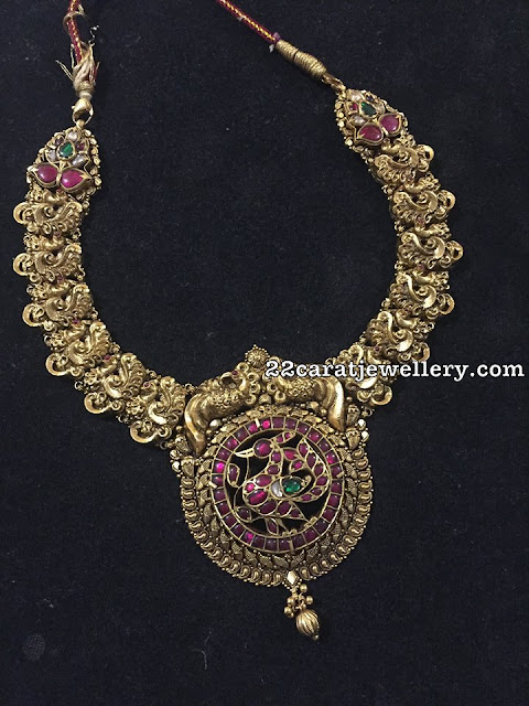 Nakash Peacock Set Kundan Locket