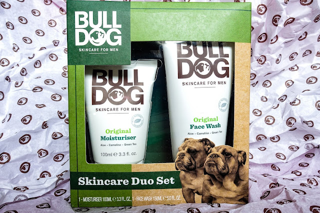 A tube of moisturiser and a tube of face wash for men in a box saying Bull Dog with a picture of two Bull Dogs