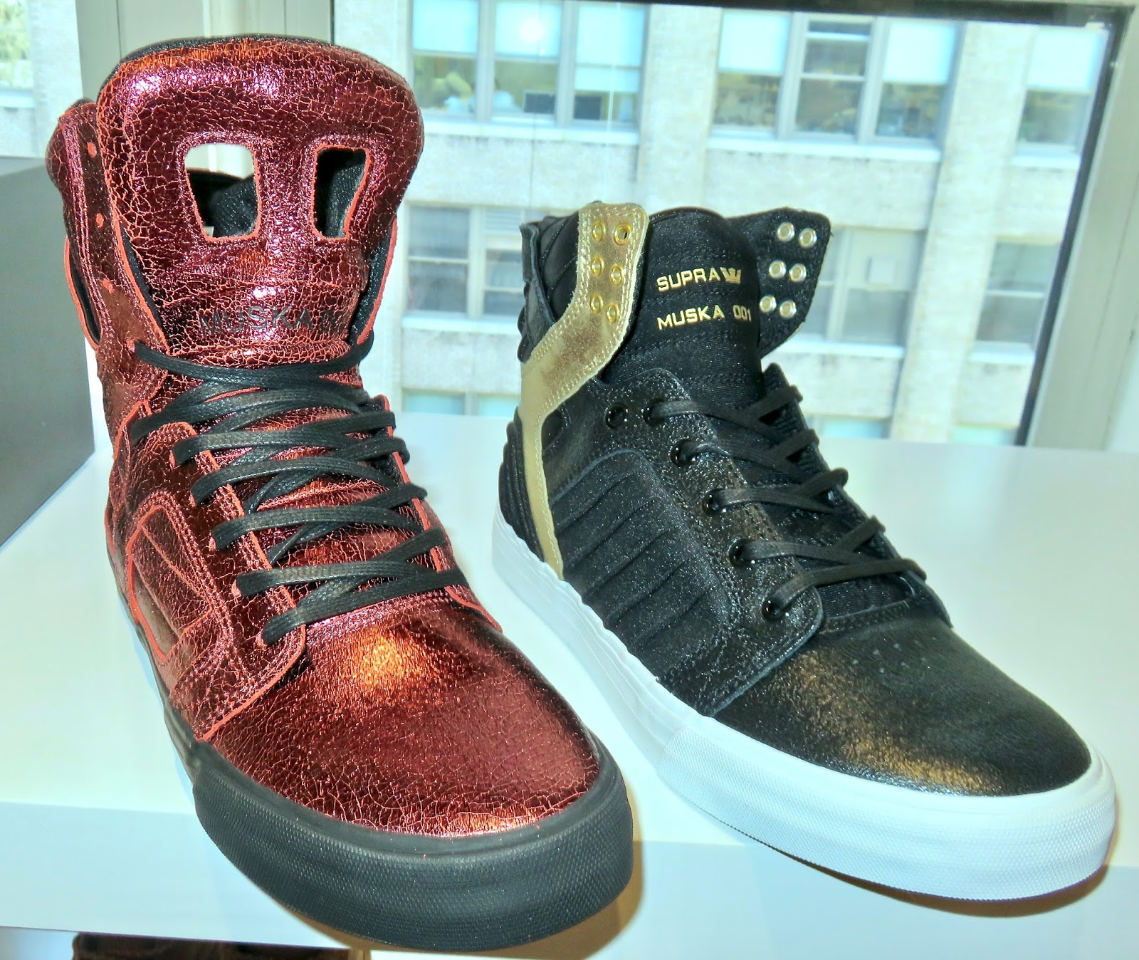 ... heel + collar-and black foiled leather+black lycra upper-paired with  white foxing...on left Skytop II-streamline look of the original in brick  red ... 536cac93afb