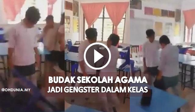 Video: Budak Sekolah Agama Jadi Gengster, Belasah Rakan
