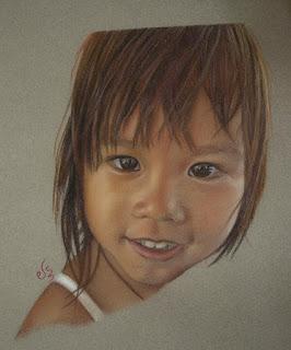 Retrato a pastel de una niña oriental