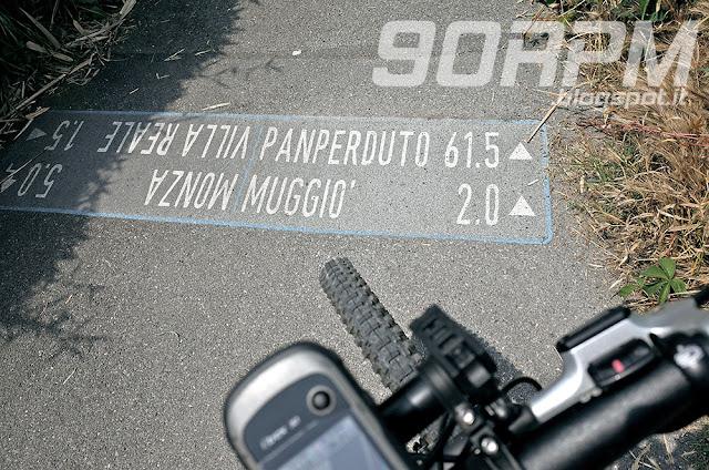 Segnavia lungo la pista ciclabile del canale Villoresi.