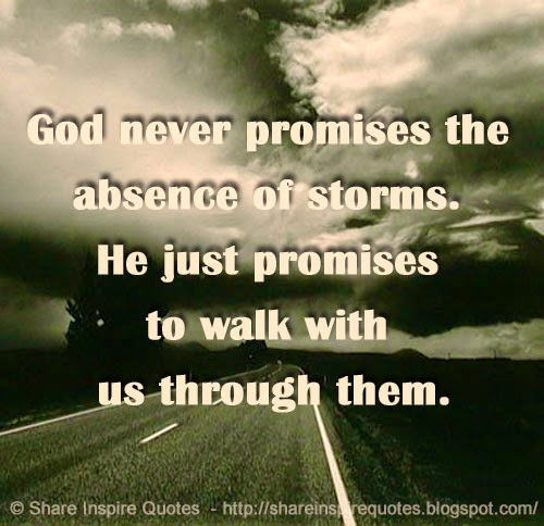Inspirational Quotes About Walking With God: God Never Promises The Absence Of Storms. He Just Promises