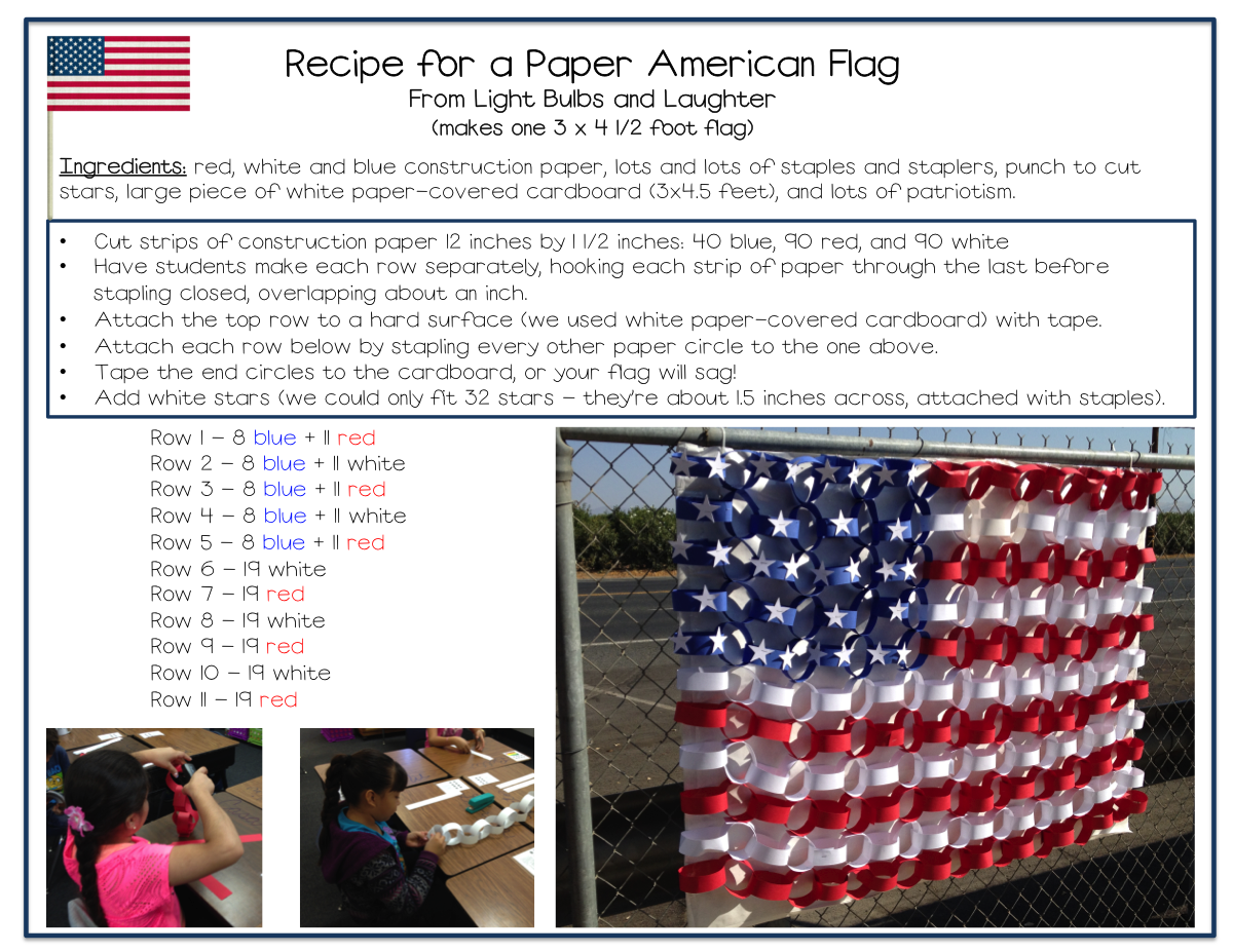 Recipe for a Paper American Flag from Light Bulbs and Laughter