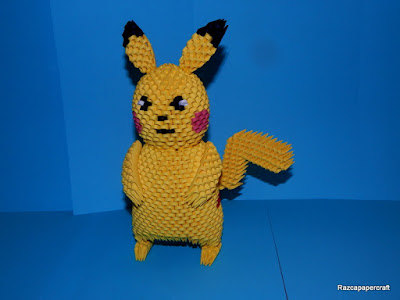 3D Origami Pikachu pokemon made from 3d origami pieces