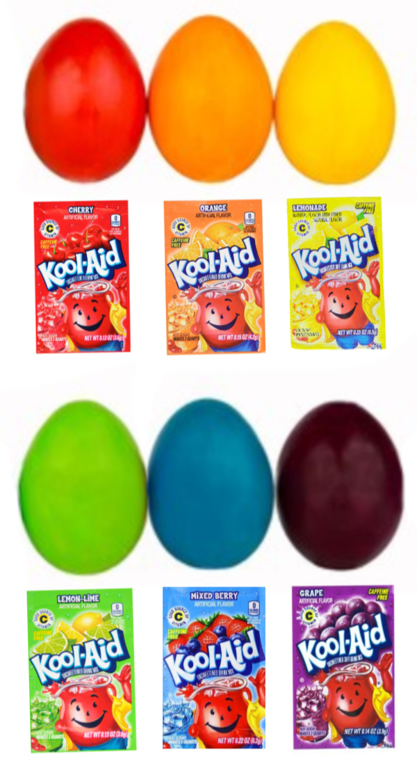 Get the most vibrant Easter eggs this year by skipping the egg dye and using Kool-aid instead!  The most colorful eggs are Kool-aid dyed Easter eggs! #koolaid #koolaideastereggdying #koolaideggcoloring #koolaideastereggs #koolaideggdye #eggdye #eggdying #eastereggactivitiesforkids #eastereggdyeideas